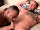 Tattooed mature Duncan Dixxx gets cock blown by BBC dude