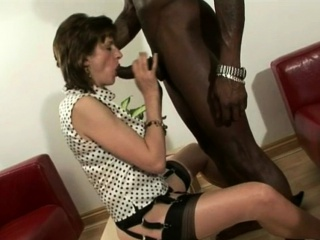 Sonia jerks off a white cock, then strokes BBC